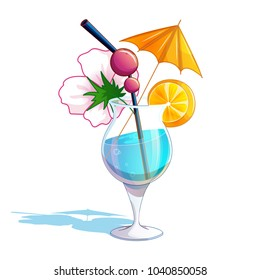 Summer tropical beach cocktail. A glass glass with a blue drink, an orange umbrella, an orange slice, a flower and a cocktail tube with cherries. Holidays in Hawaii. Vector illustration.