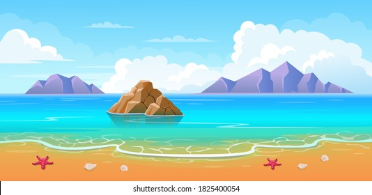 Summer tropical beach with mountains and islands. Seaside landscape, nature vacation, ocean or sea seashore.Vector cartoon illustration.