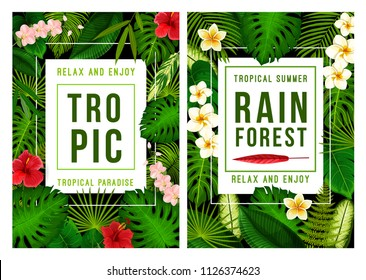Summer tropical beach vacation poster for exotic holiday template. Tropical palm green leaf frame, decorated with Hawaiian flower of hibiscus, orchid and plumeria for summertime season themes design