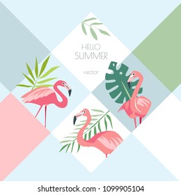 Summer tropical creative vector background with exotic birds flamingo and palm leaves