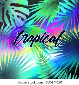 5ec4f5d29 Summer tropical design with exotic palm leaves and lettering. Vector summer  illustration.