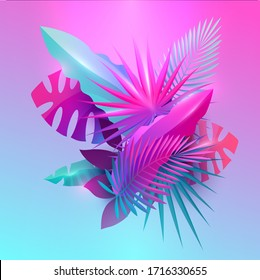 Summer tropical design. Floral composition