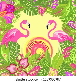 Summer tropical floral background with exotic leaves and flowers, pair of lovely pink flamingo and hot sun for Tshirt, summery party poster, bag design
