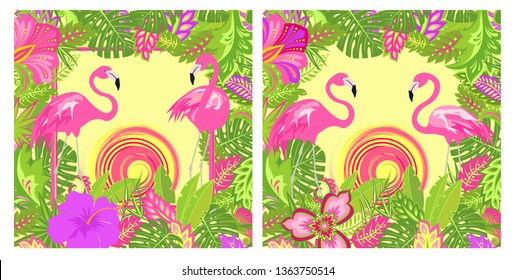 Summer tropical floral backgrounds variation with exotic leaves and flowers, pair of lovely pink flamingo and hot sun for Tshirt, summery party poster, bag design