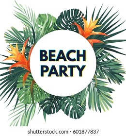 Summer tropical flyer with exotic palm leaves and flowers. Jungle vector floral template.