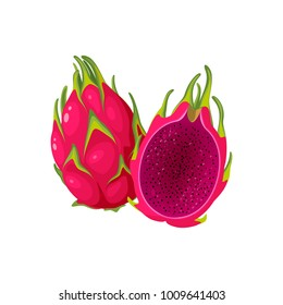 Summer tropical fruits for healthy lifestyle. Red dragon fruit with red flesh, whole fruit and half. Vector illustration cartoon flat icon isolated on white.
