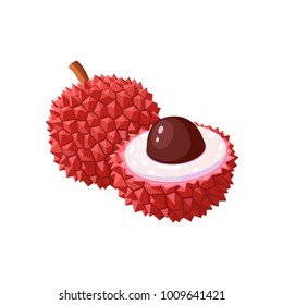 Summer tropical fruits for healthy lifestyle. Lychee fruit. Vector illustration cartoon flat icon isolated on white.