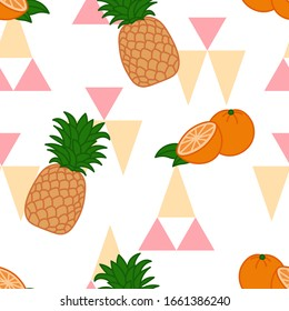 summer tropical fruits seamless pattern on abstract colorful triangles background with cartoon orange and pineapple, editable vector illustration for decoration, fabric, textile, paper, print