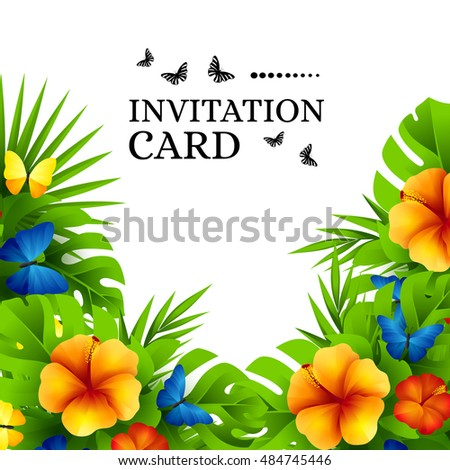 Summer Tropical Hawaiian Background Jungle Palm Vector de stock ...
