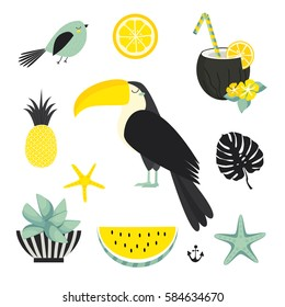 Summer. Tropical island. Vacation, recreation, holiday, travel. Cute vector set. Toucan, fruits.