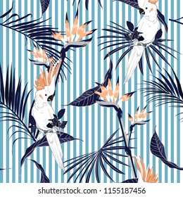 Summer tropical jungle leaves with white macaw bird saemless pattern in vector suits for fashion ,fabric and all prints on lihgt blue stripes