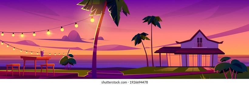 Summer tropical landscape with bungalow on ocean beach, table and chairs on terrace at sunset. Vector cartoon illustration of exotic resort vacation on sea shore with house and palm trees