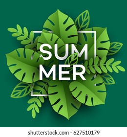 Summer Tropical Leaf. Paper cut style. Vector illustration EPS10