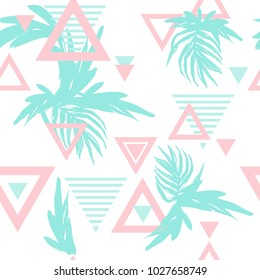Summer Tropical Leaves Seamless Pattern with Geo Elements