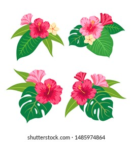 Summer Tropical Leaves Vector Design. Vector illustration with flowers and leaves. Set of colorful  tropical bouquets.