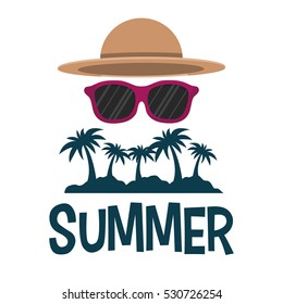 summer tropical palm sunglasses and hat vector illustration eps 10