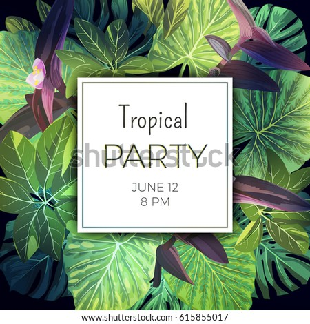 summer tropical party flyer template palm stock vector royalty free