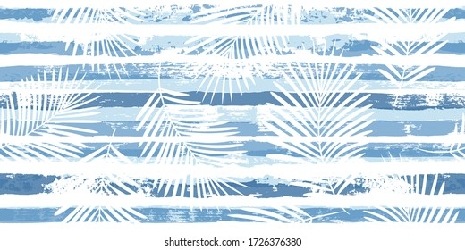 Summer Tropical pattern, palm leaves seamless vector floral background. Exotic plant on blue stripes illustration, jungle print. Leaves of palm tree on paint lines. ink brush strokes