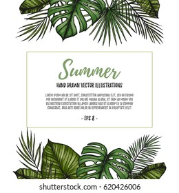 Summer tropical postcard template. Frame with Palm leaves (monstera, areca, fan, banana). Hand drawn vector illustration. Perfect for prints, posters, invitations,  packing etc