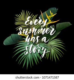 Summer tropical poster with sabal and banana palm leaves, exotic strelitzia flowers and handdrawn integrated inscription with 3d effect. Vector illustration.