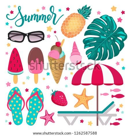 fefc71505caa Summer Tropical Set Design Elements Vector Stock Vector (Royalty ...