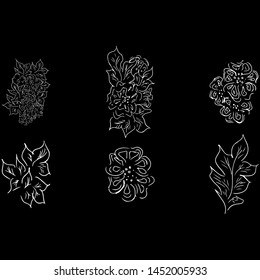 Summer tropical set of leaves. Floral botanical flower collection. Hand drawn vector set. Contour sketch. Tropical leaf palm icon. Hawaiian vector illustration collection.