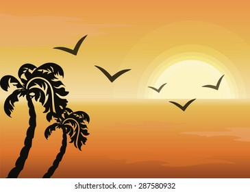Summer Tropical Sunset background. Ocean view. Vector