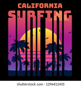 Summer tropical text California surfing with sunset gradient and palms and surfers silhouette, vector illustration in retro 80s style.