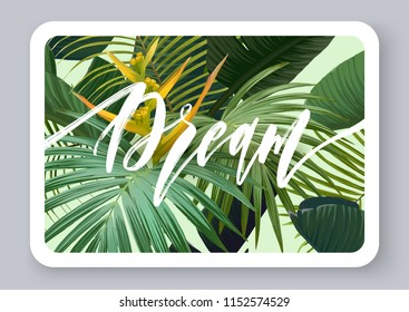 Summer tropical vector design for banner or flyer with dark green palm leaves, exotic flowers and lettering.