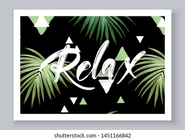 Summer tropical vector design for banner or flyer with dark green palm leaves, textured triangles and hand lettering.