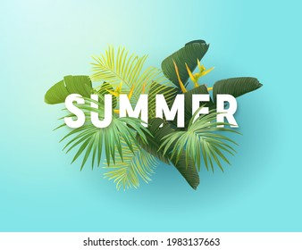 Summer tropical vector design for banner or flyer with exotic palm leaves, flowers and typography.
