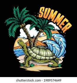 Summer turtle on beach and coconut tree with surfboard and dusk sky