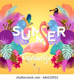 Summer Typographical Background With Topical Elements, Palms, Flowers, Flamingo, Parrot