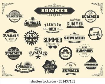 Summer Typography Design Collection - A huge set of dark colored vintage style Summer Designs on light background