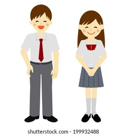 Summer uniformed school boy and school girl / Vector EPS 10 illustration