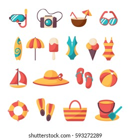 Summer vacation accessories flat icons set. Colorful abstract vector illustration. Colorful template for you design, web and mobile applications.