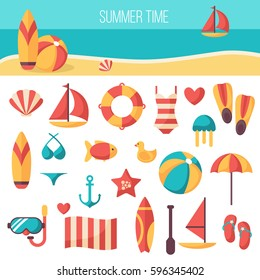 Summer vacation accessories flat icons set. Colorful abstract vector illustration. ?olorful template for you design, web and mobile applications.