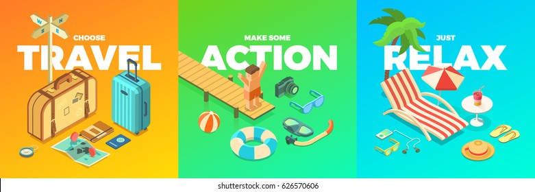 Summer Vacation Activities, Isometric Accessories, Travel, Action, Relax, Fun, isolated vector illustrations