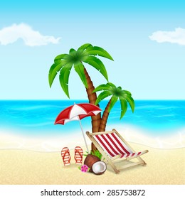Summer vacation background. Tropical palm tree, deck chair, umbrella, slippers and coconut with flower. EPS10 vector