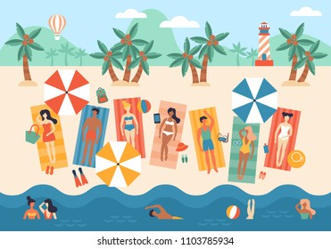 Summer vacation banner design with small people characters tanning, swimming and enjoying summer activities on tropical beach. Top view vector background.