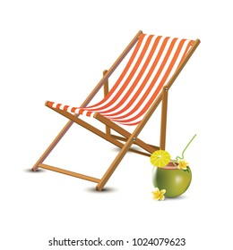 Summer vacation, beach party realistic 3d objects isolated. Travelling tourism holiday time illustration sun lounger, coconut coctail on white background, paradise resort seaside concept