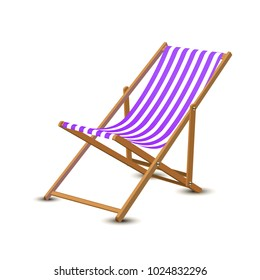 Summer vacation, beach party realistic 3d objects isolated. Travelling tourism holiday time illustration sun lounger, sunglasses, seashells on white background, paradise resort seaside concept