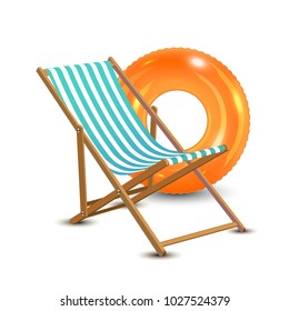 Summer vacation, beach party realistic 3d objects isolated. Travelling tourism holiday time illustration sun lounger, orange swim ring on white background, paradise resort seaside concept