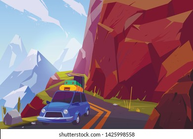 Summer vacation car travel cartoon vector concept. Passenger car, loaded with baggage bags on roof, going on serpentine road high in mountains illustration. Family leisure on nature, overseas trip
