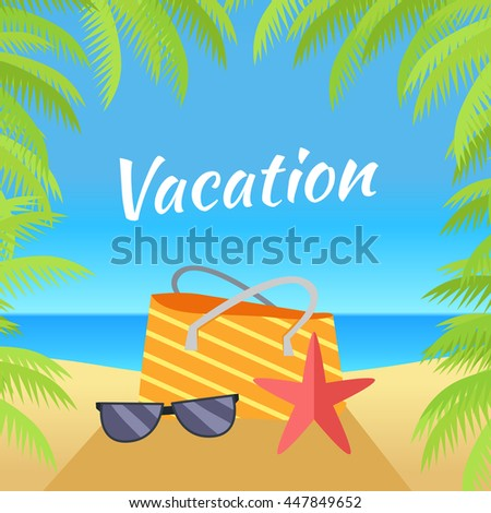 b49e46bd2cc Royalty-free stock vector images ID  447849652. Summer vacation concept  banner. Leisure on tropical sunny beach with palm trees. Ocean horizon  background.