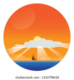Summer Vacation Concept landscape - circle sticker