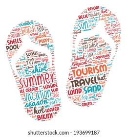 Summer Vacation Concept - Slipper shaped word cloud
