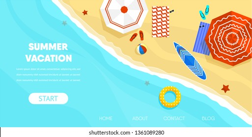 Summer Vacation Concept. Top View Coast Beach Sand Background with Umbrella Ball Sunglasses Surfboard Swimming Ring Vector Illustration. Sea Island Ocean Shore Family Relax Resort Trip