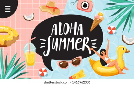 "Summer vacation concept. Typography slogan ""Aloha summer"" sign. Happy woman in swim ring and beach elements. Summer rest and vacation concept. Design for banner, landing page, invitation etc. Vector."