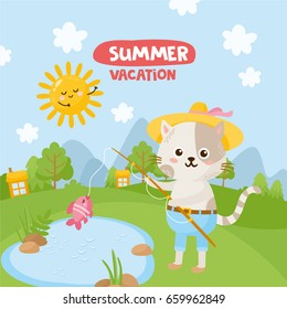 Summer Vacation! Cute little cat fishing in a pond. Summer landscape, trees, nature. Hand drawn letters. Kids illustration.